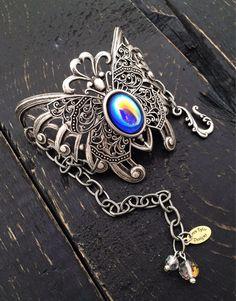 Silver Butterfly Bracelet, Statement Bracelet, Filigree Butterfly, Art Deco Jewelry, Blue Jewelry, Cuff Bracelet, Free Shipping to US