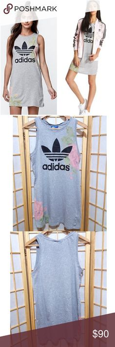Rare💟Adidas Pastel Rose Floral Gray Dress M Super feminine subtle & chic😍 Sold out right away when it first came out bc Kylie wore it as an oversized tank People that have it just don't like getting rid of it & it's discontinued now..so hard to come by This one's in Mint condition..zero flaws  *I'm Also selling matching track jacket & leggings check out my closet if interested😉 adidas Dresses