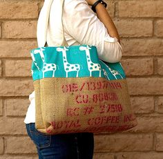 Burlap COFFEE Bean Bag Tote with GIRAFFE by ChellaBellaDesigns