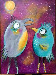 Dirty Flirty Birds with Jodi Ohl. Acrylics. Collage, pencil By Betsy Walcheski