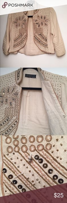 ❗️sale❗️Zara Embroidered & Beaded jacket Zara TRF Collection jacket. Embroidered and beaded. Short length (at waist). Mandarin collar. Linen fabric outer and soft cotton lining. One hook and eye closure. Two beads have come loose (shown in photo) and small stain near left sleeve hem. Zara Jackets & Coats