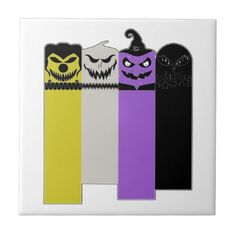 Non-Binary Halloween Monsters Tile - halloween decor diy cyo personalize unique party