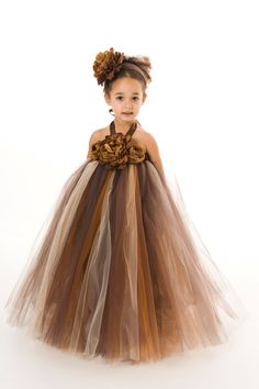 Flower Girl Tutu Dress Brown Bronzed by Cutiepatootiedesignz