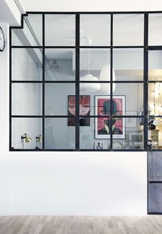 We love this cool glass window wall between the bedroom and living room. Interior Windows, Interior Walls, Home Interior Design, Glass Partition Wall, Pony Wall, Crittall, Glass Room, Glass Walls, Glass Art
