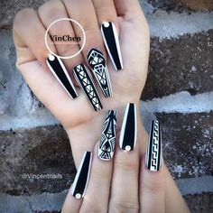 Geometric Long Nails Design ❤️Coffin Nails Ideas For Enchanting Look ❤️ See more: https://naildesignsjournal.com/coffin-nails-exciting-ideas/ #naildesignsjournal #nails #nailart #naildesigns