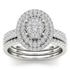 De Couer 14k White Gold 5/8ct TDW Diamond Cluster Frame Bridal Set (H-I,I2) (Size-8), Women's, Size: 8, White H-I