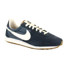 Nike Pre Montreal Racer Vintage 555258 403 Womens Laced Suede & Nylon Trainers Navy