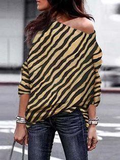 Fashion Sexy Off Shoulder Zebra Printed Long Sleeve T-shirts Off Shoulder T Shirt, One Shoulder, Blouse Jaune, Pullover, Zebra Print, Types Of Sleeves, Ideias Fashion, Plus Size, Fall Fashions