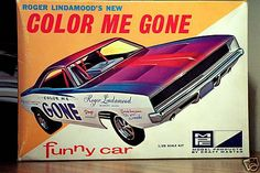 MPC Roger Lindamood's New Color Me Gone Funny Car box art.  Saw him at the drags. Built the model car.