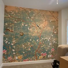 WallpaperTropical Foliage AbstractRemovablePeel and Vinyl Wallpaper, Home Wallpaper, Removable Wall Murals, Interior And Exterior, Interior Design, Chinoiserie Wallpaper, Rose Wall, My New Room, Bedroom Decor