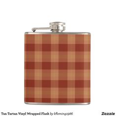 Tan Tartan Vinyl Wrapped Flask