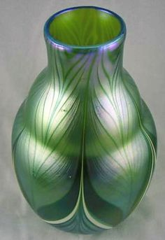 Blue Peacock Vase by Orient and Flume | 143: 2 Early Orient & Flume Art Glass Vases : Lot 143