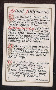 "1910 Art & Crafts"" Good Judgement"" Poem Motto Poem Antique Postcard-ccc302"