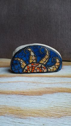 Reserved Listing for Kristine Stone Ray of Sunshine Mosaic Rock Paperweight… Mosaic Stones, Mosaic Rocks, Mosaic Ideas, Mosaic Projects, Happy Rock, Coloured Grout, Rock Decor, Mosaic Garden, Rock Design