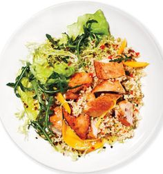 Geoffrey Zakarian's Mango Chicken Salad With Couscous--made with leftover quinoa and kale & spinach instead. YUM!!!!