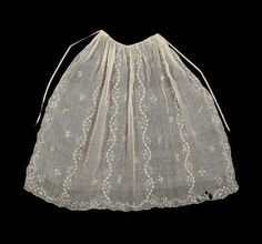 Apron, American (New England), 18th century, Dimensions 88 x 117 cm (34 5/8 x 46 1/16 in.), Linen muslin with linen embroidery and hemstitched, and linen tape drawstring. MFA Accession Number 64.1913