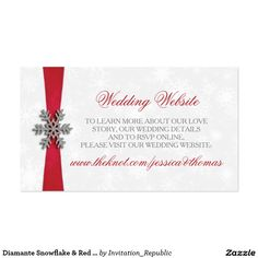 Diamante Snowflake & Red Ribbon Winter Wedding Business Card