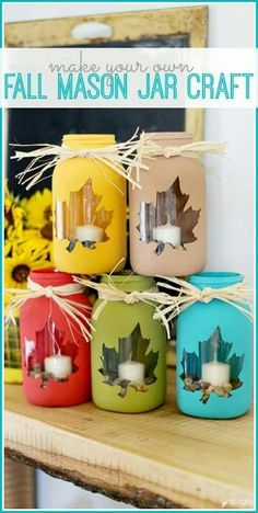 tips for how to make your own fall mason jar craft - love this cute diy decor idea! - - Sugar Bee Crafts fall crafts Mason Jar DIY Craft Ideas & Decor Projects for the Fall Pot Mason Diy, Fall Mason Jars, Pots Mason, Mason Jar Projects, Mason Jar Crafts, Crafts With Jars, Bee Crafts, Diy And Crafts, Easy Fall Crafts