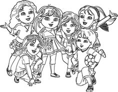 Pg 18 and 19 – Dora and Friends coloring page