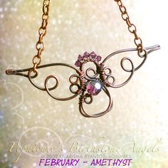 Birthstone Angels Necklace, This is my latest cute project. These birthstone angels are handmade from scratch by me using Argentium silver and copper wire. Swarovski crystals represents the birthstone colors and for extra sparkle :) They will be adorable gifts for Christmas and birthdays.   They are available at Popnicute.com , This is February Angel. Birthstone is Amethyst. , Jewelry Project