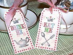 Free Downloadable Tags from B. Nute for Mad Hatter/Alice in Wonderland Party