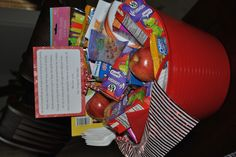 Moving gift basket.....Great gift for someone who is moving.  Throw in snacks, paper plates, napkins, and if they have kids, little toys to keep them busy. Someone once did it for me and it was a lifesaver!!!