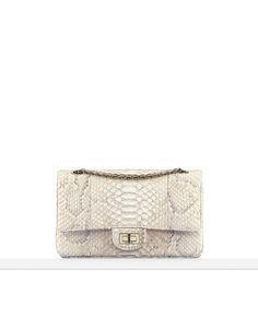 2.55 flapbag, python-white & beige - CHANEL