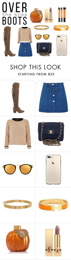 """""""Sweaters,boots,football, & pumpkins! I 💛 fall!!!!"""" by emup ❤ liked on Polyvore featuring ALDO, Miss Selfridge, River Island, Chanel, Linda Farrow, Cartier, Hermès and Yves Saint Laurent"""