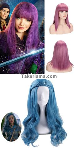 With this Descendants 2 Mal Purple Cosplay Wig, you will become Mal immidiately. This Descendants 3 Mal Purple Cosplay Wig is made of high temperature resistant fiber, it will make your cosplay more real. Little Girl Princess Dresses, Disney Princess Dresses, Anime Wigs, Anime Hair, Pretty Hairstyles, Wig Hairstyles, Evie Costume, American Girl Doll Sets, Best Kids Watches