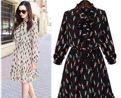 Printing Temperament European And American One-Piece Dress