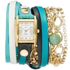 Women's La Mer Collections Leather & Chain Wrap Bracelet Watch, 28Mm (51.395 HUF) ❤ liked on Polyvore featuring jewelry, watches, leather watch bracelet, rectangular watches, chains jewelry, chain bracelet watch and bracelet watch