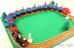 SUPER EASY cupcake train. The easiest way to make a train cake for a birthday party!