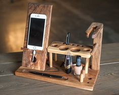 Wood stand gift women,Cosmetic desk holder,Phone desk holder women,Solid wood organizer,Wooden makeu – Gift World Wooden Makeup Organizer, Into The Woods, Vide Poche, 3d Prints, Wood Desk, Docking Station, Diy Wood Projects, Walnut Wood, Makeup Organization