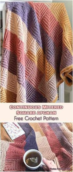 Continous Mittered Square Blanket Free Crochet Pattern