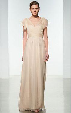 e491a2a1215d V-neck Natural A-line Zipper Floor-length Bridesmaid Dresses Amsale  Bridesmaid