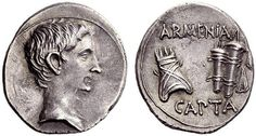 """isgandar: """" Silver coin of Augustus circa 19-18 BC, in celebration of the victory over Armenia. On the right ARMENIA CAPTA, Armenian Tiara and bow case with quiver. """""""