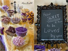 candy bar in wedding colors