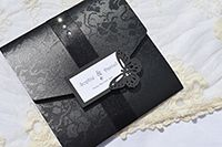 Gothic Diamante square pocketfold invitation with satin ribbon, butterfly and gems.