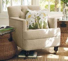 Get that pillow out of the way - I wanna plant myself in this chair and start reading!  Tudor Armchair | Pottery Barn