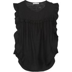 Étoile Isabel Marant Sonia Matka ruffled silk-gauze top (3 900 SEK) ❤ liked on Polyvore featuring tops, black, short sleeved, flounce tops, flutter-sleeve top, frilly tops, short sleeve ruffle top and slit top