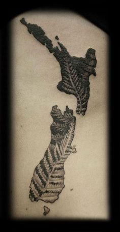 Custom New Zealand Map Kiwiana with Fern Leaves Black and Grey Rib Cage Tattoo Design_tattoo gallery