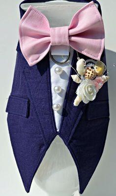 Dog Wedding Tuxedo Linen Boy Dog Harness