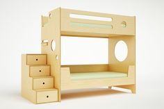 The Marino Bunk Bed is the most compact and sturdy bunk bed on the market  today. Ideal for small rooms or where space is tight, it features enclosed  rails for increased safety. The lower bunk, equipped with a partially  enclosed rail so that children as young as two can sleep there safely,  features a back rail that allows it to double as a daybed. The stairs,  which double as drawers, allow for easy and safe access to the upper bunk,  as well as offer additional storage. This bed is ...