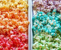Rainbow Candy Popcorn using JellO. Make this for holidays using appropriate colors.