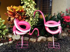My new flamingos made from recycled tires!  Follow my page at  http://www.facebook.com/reciclamosyembellecemos