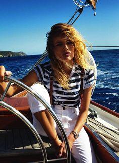 Edita Vilkeviciute by Gilles Bensimon for Vogue Paris Nautical Vogue Paris, Sailing Outfit, Boating Outfit, Women's Sailing, Segel Outfit, Bootfahren Outfit, Outfit Ideas, Looks Style, My Style