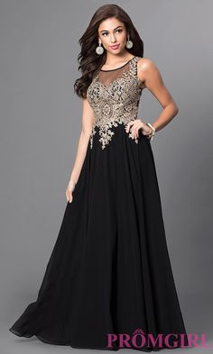 Image of long sleeveless jewel embellished lace applique sheer back chiffon prom dress  Front Image
