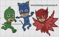 SCHEMA PJ MASKS - SUPER PIGIAMINI PUNTO CROCE Knitting Patterns Boys, Knitting Projects, Sewing Projects, Hama Beads Patterns, Beading Patterns, Stitch Cartoon, Disney Stitch, C2c, Brick Stitch