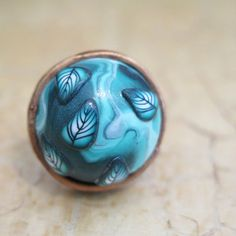 This beautiful ring, Turquoise ring, handmade, made of polymer clay, Inspired by nature, decorated with lovely leafs. For casual and elegant outfit