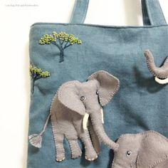 ゾウ ノ バッグ / Elephant felt and embroidery applique   - e.no.bag フェルトと刺繍